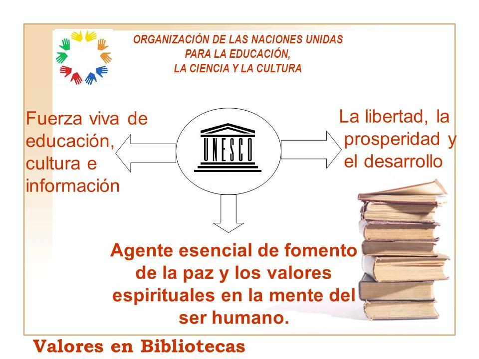 La libertad, la prosperidad y el desarrollo Fuerza viva de educación, cultura e información Agente esencial de fomento de la paz y los valores espirit