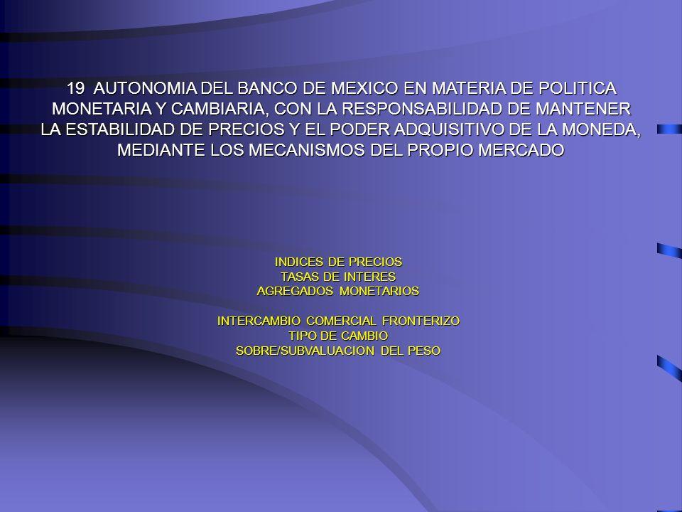 19 AUTONOMIA DEL BANCO DE MEXICO EN MATERIA DE POLITICA MONETARIA Y CAMBIARIA, CON LA RESPONSABILIDAD DE MANTENER LA ESTABILIDAD DE PRECIOS Y EL PODER