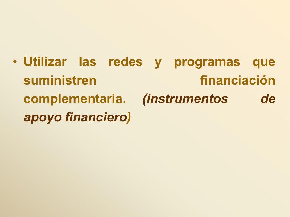 Utilizar las redes y programas que suministren financiación complementaria. (instrumentos de apoyo financiero)