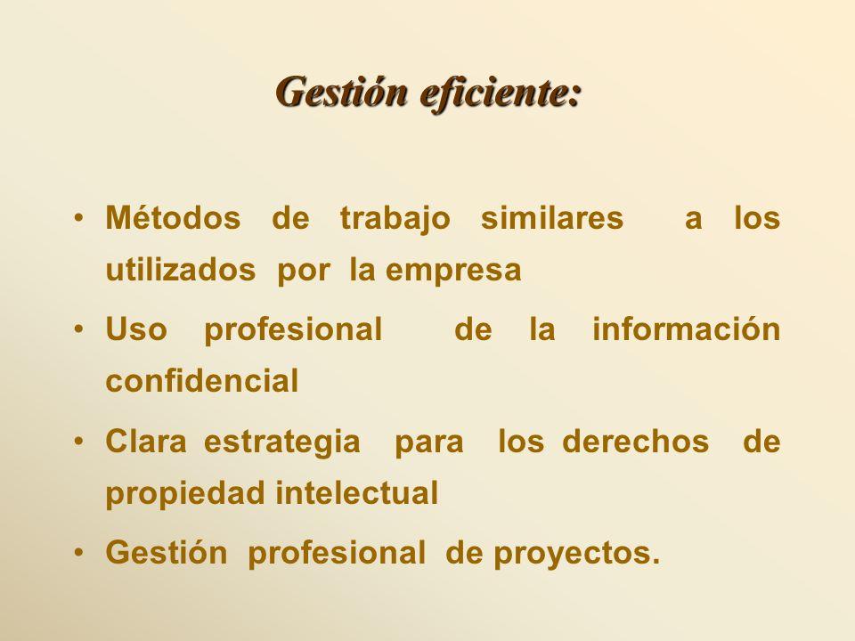 Gestión eficiente: Métodos de trabajo similares a los utilizados por la empresa Uso profesional de la información confidencial Clara estrategia para l