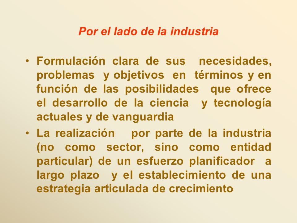 Por el lado de la industria Formulación clara de sus necesidades, problemas y objetivos en términos y en función de las posibilidades que ofrece el de