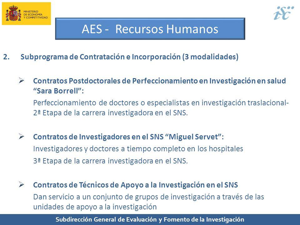 Subdirección General de Evaluación y Fomento de la Investigación AES - Recursos Humanos 2.Subprograma de Contratación e Incorporación (3 modalidades)