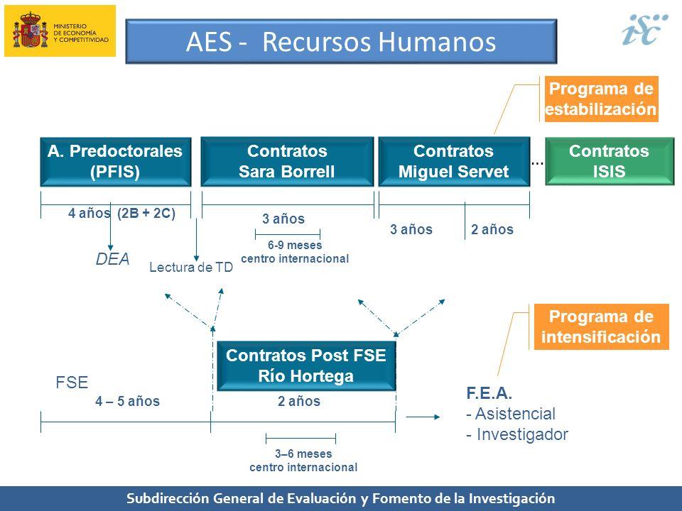 Subdirección General de Evaluación y Fomento de la Investigación AES - Recursos Humanos A. Predoctorales (PFIS) Contratos Sara Borrell Contratos Migue