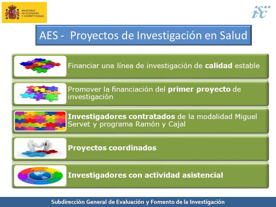 Subdirección General de Evaluación y Fomento de la Investigación AES - Proyectos de Investigación en Salud Financiar una línea de investigación de cal