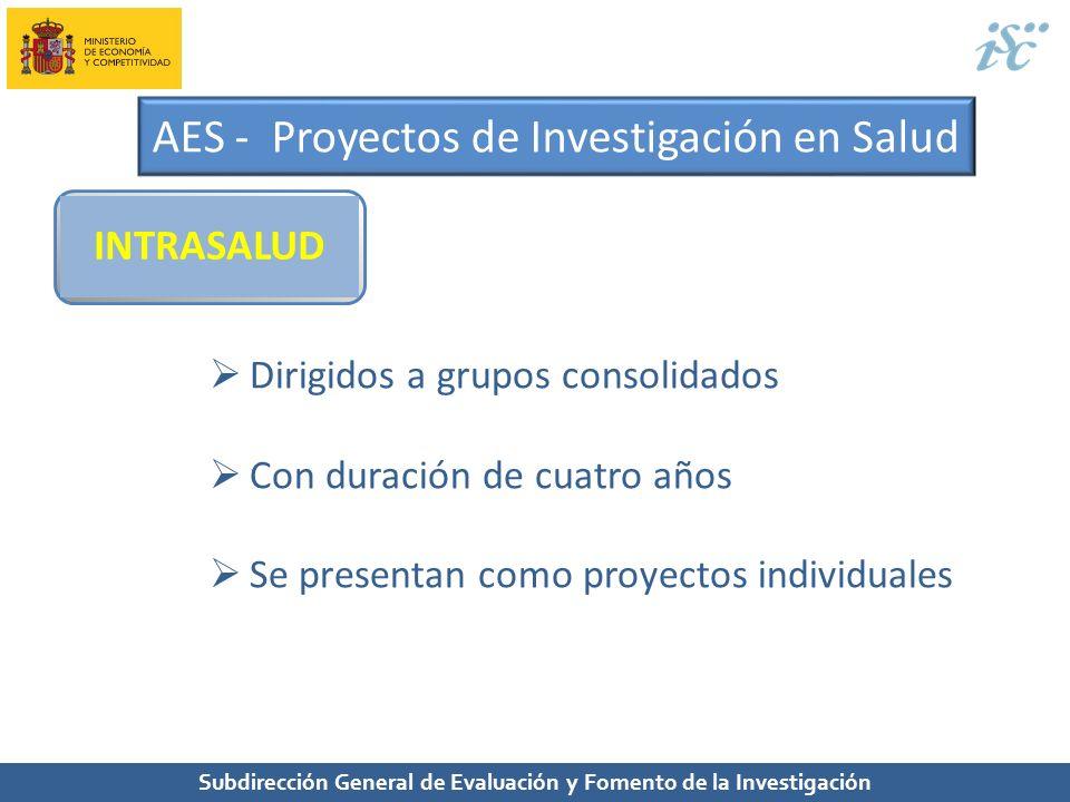 Subdirección General de Evaluación y Fomento de la Investigación AES - Proyectos de Investigación en Salud INTRASALUD Dirigidos a grupos consolidados