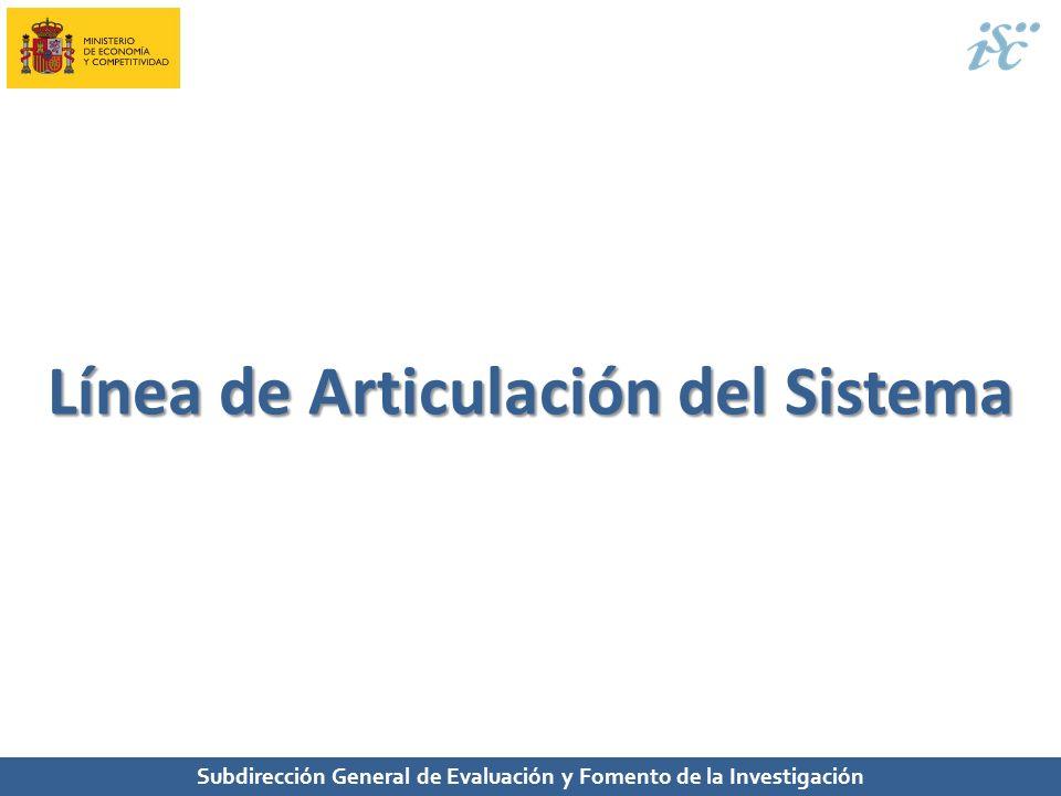 Subdirección General de Evaluación y Fomento de la Investigación Línea de Articulación del Sistema