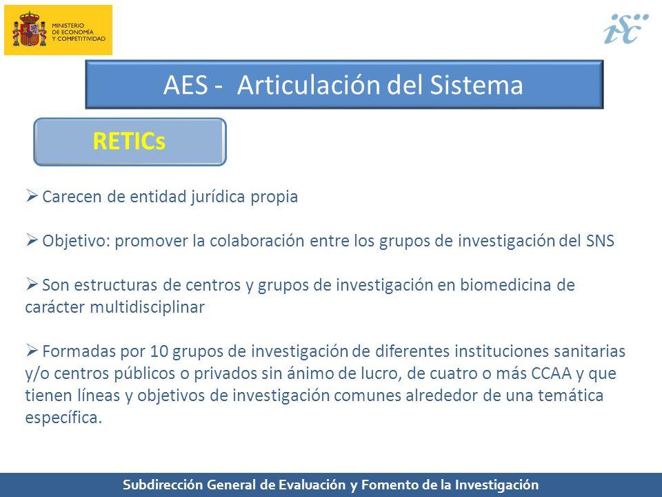 Subdirección General de Evaluación y Fomento de la Investigación AES - Articulación del Sistema RETICs Carecen de entidad jurídica propia Objetivo: pr