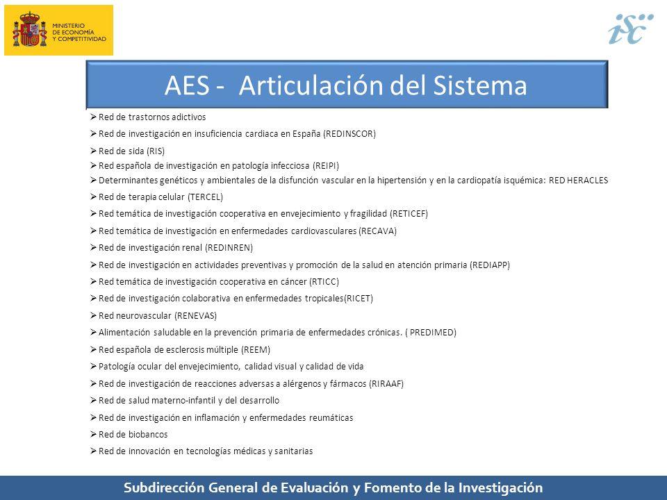Subdirección General de Evaluación y Fomento de la Investigación AES - Articulación del Sistema Red de trastornos adictivos Red de investigación en in