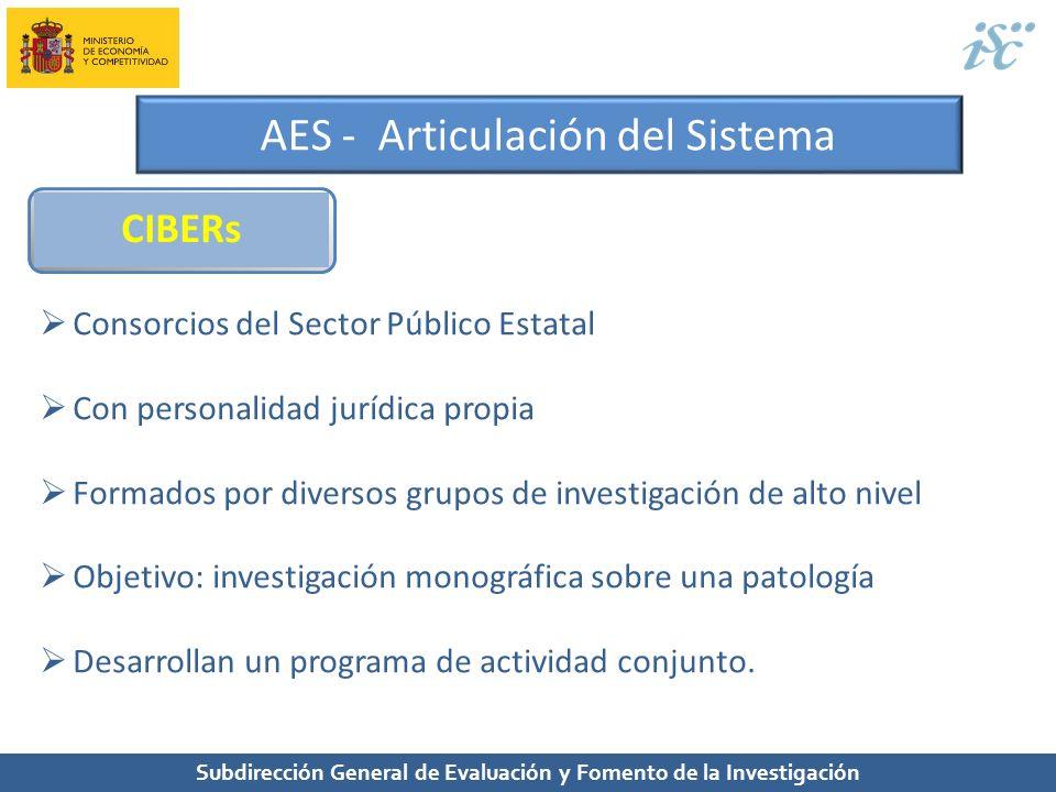 Subdirección General de Evaluación y Fomento de la Investigación AES - Articulación del Sistema CIBERs Consorcios del Sector Público Estatal Con perso
