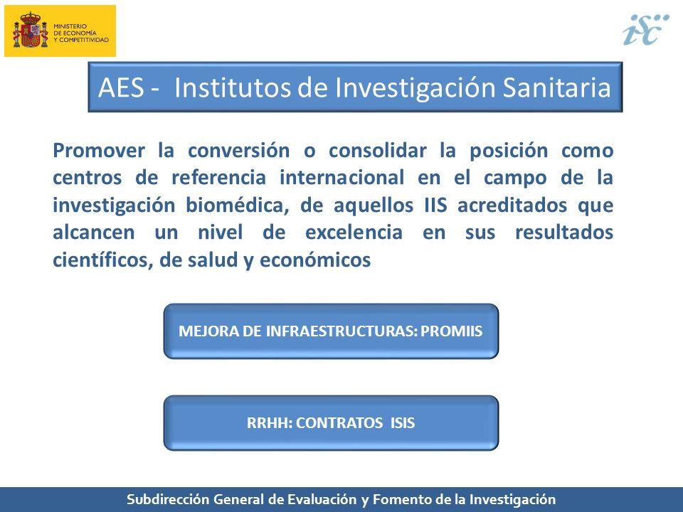 Subdirección General de Evaluación y Fomento de la Investigación AES - Institutos de Investigación Sanitaria Promover la conversión o consolidar la po