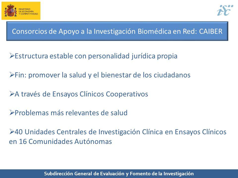 Subdirección General de Evaluación y Fomento de la Investigación Consorcios de Apoyo a la Investigación Biomédica en Red: CAIBER Estructura estable co