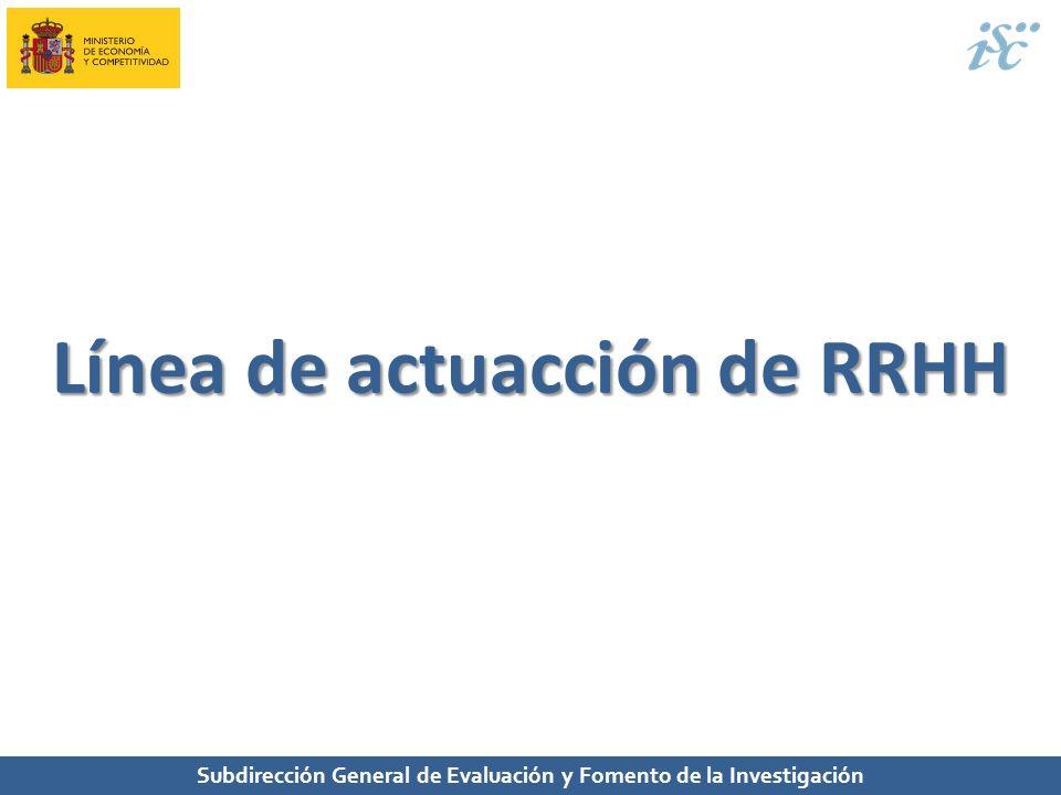 Subdirección General de Evaluación y Fomento de la Investigación Línea de actuacción de RRHH