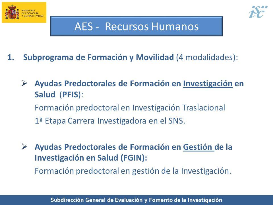 Subdirección General de Evaluación y Fomento de la Investigación AES - Recursos Humanos 1.Subprograma de Formación y Movilidad (4 modalidades): Ayudas