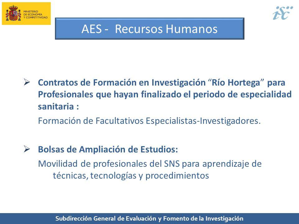 Subdirección General de Evaluación y Fomento de la Investigación AES - Recursos Humanos Contratos de Formación en Investigación Río Hortega para Profe