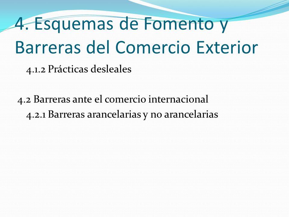 4. Esquemas de Fomento y Barreras del Comercio Exterior 4.1.2 Prácticas desleales 4.2 Barreras ante el comercio internacional 4.2.1 Barreras arancelar