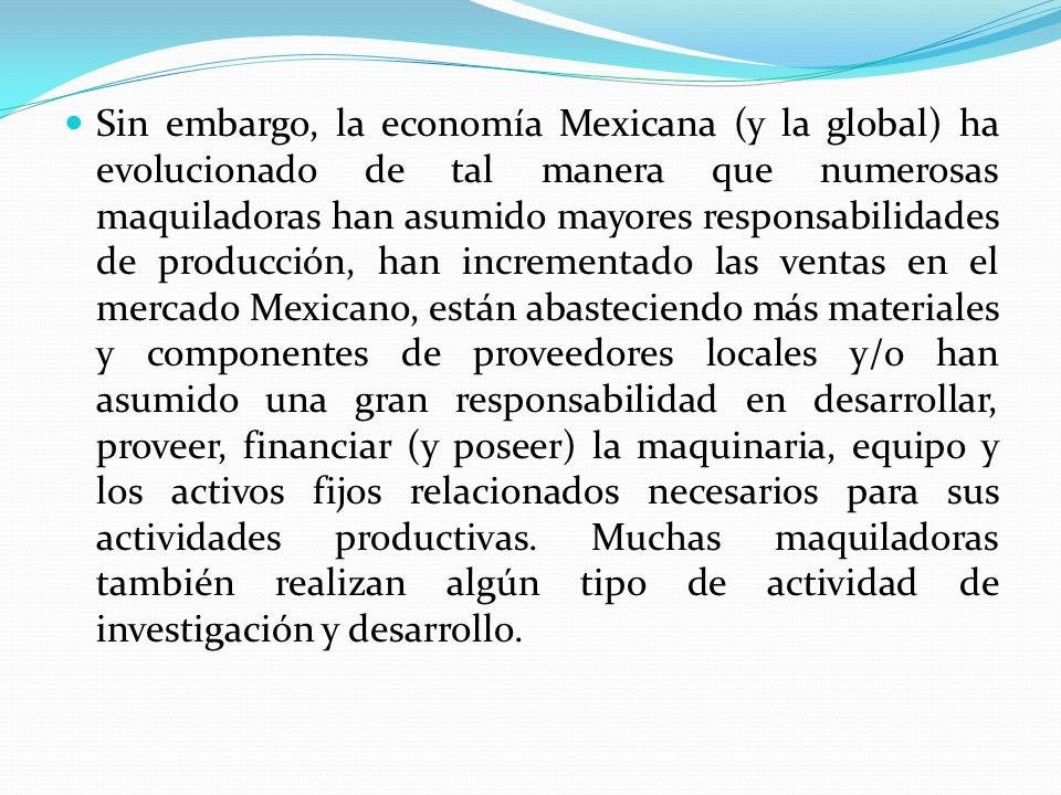 Sin embargo, la economía Mexicana (y la global) ha evolucionado de tal manera que numerosas maquiladoras han asumido mayores responsabilidades de prod