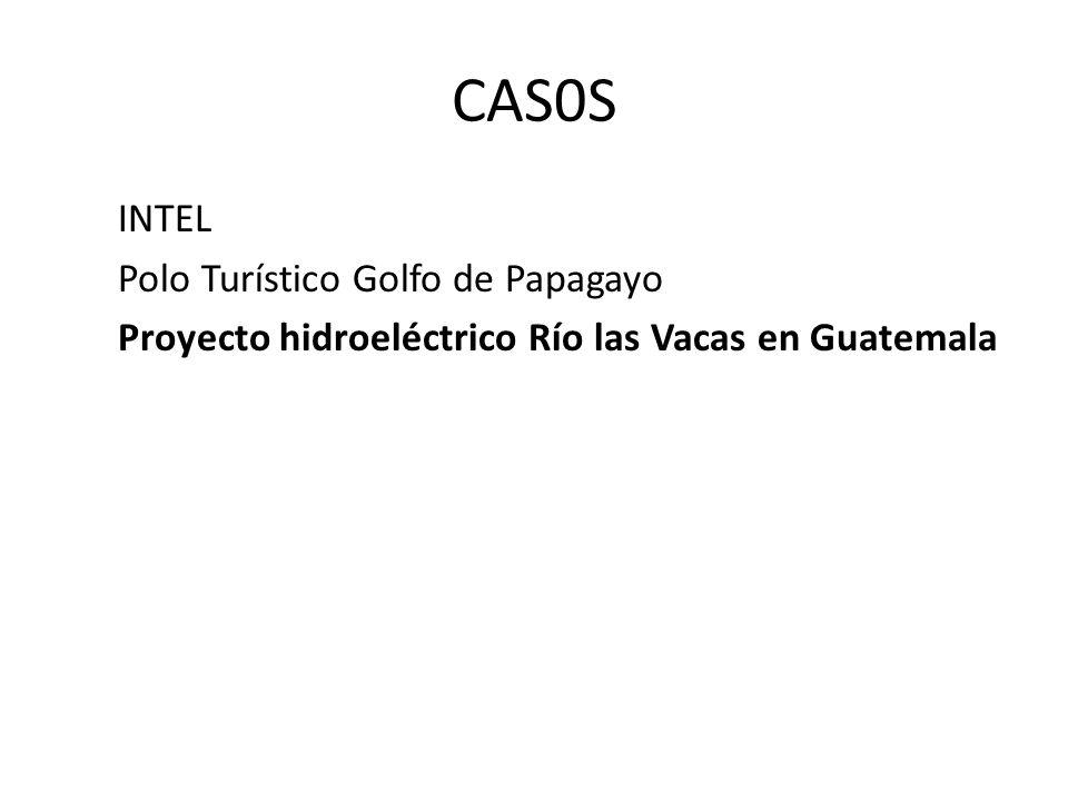 CAS0S INTEL Polo Turístico Golfo de Papagayo Proyecto hidroeléctrico Río las Vacas en Guatemala