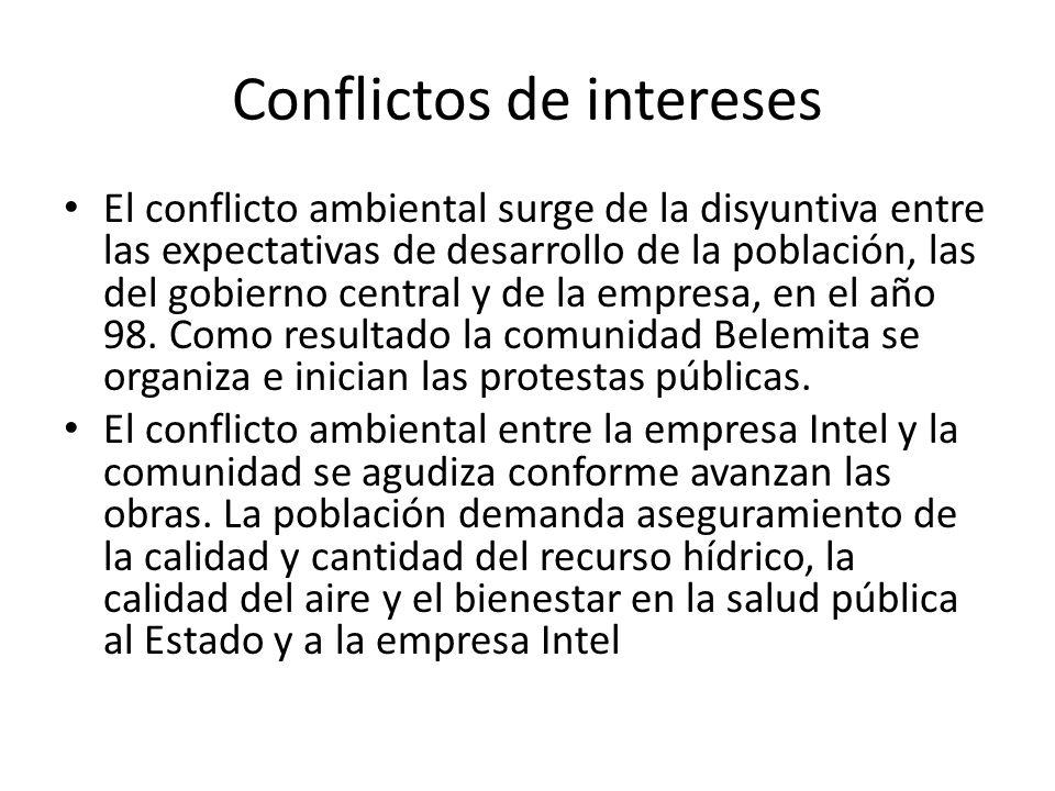 Conflictos de intereses El conflicto ambiental surge de la disyuntiva entre las expectativas de desarrollo de la población, las del gobierno central y