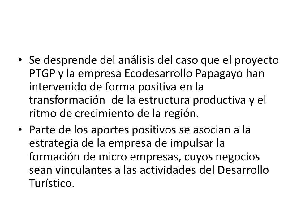 Se desprende del análisis del caso que el proyecto PTGP y la empresa Ecodesarrollo Papagayo han intervenido de forma positiva en la transformación de