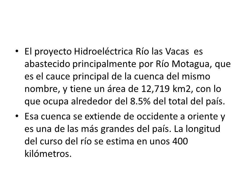 El proyecto Hidroeléctrica Río las Vacas es abastecido principalmente por Río Motagua, que es el cauce principal de la cuenca del mismo nombre, y tien
