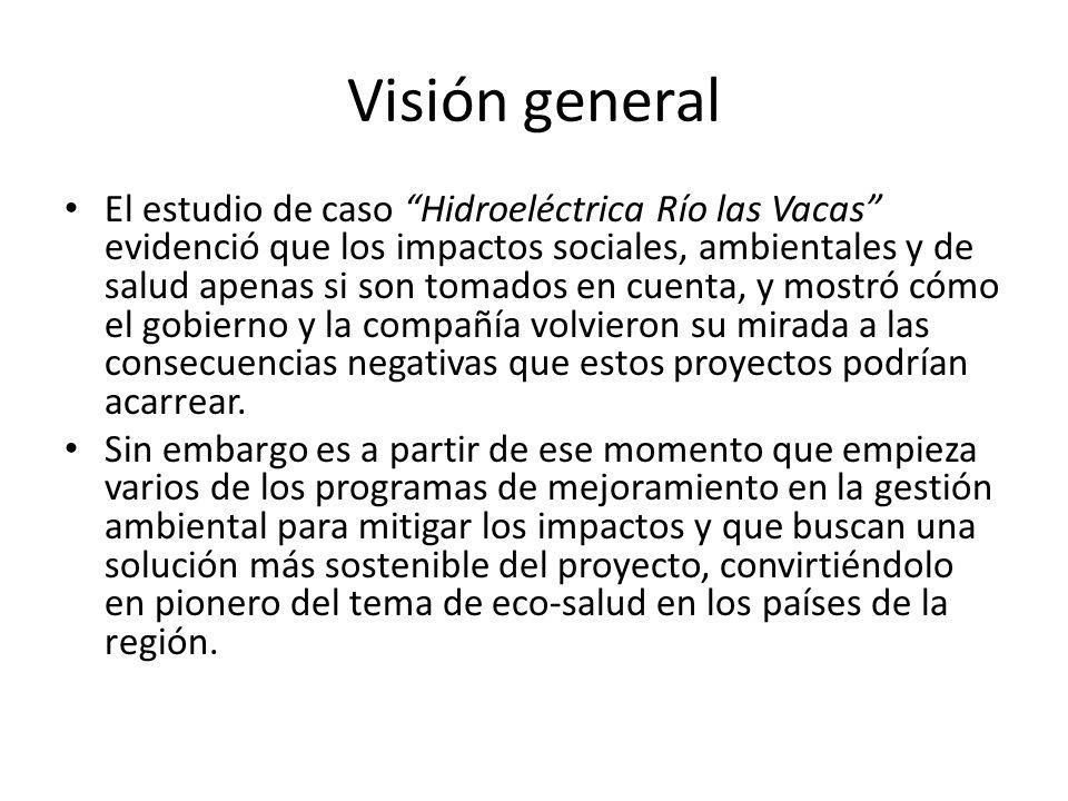 Visión general El estudio de caso Hidroeléctrica Río las Vacas evidenció que los impactos sociales, ambientales y de salud apenas si son tomados en cu