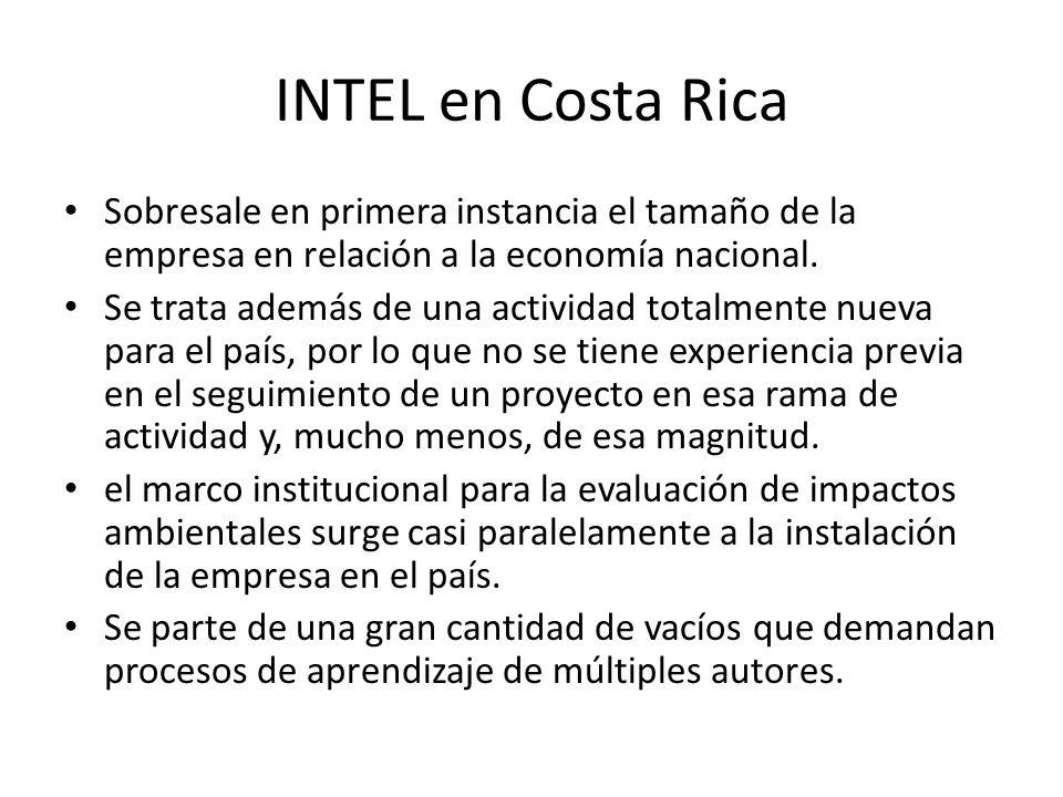 La llegada de Intel a Costa Rica se da a finales de los años noventa, como resultado de la intensa campaña por parte del gobierno para la atracción de inversión extranjera.