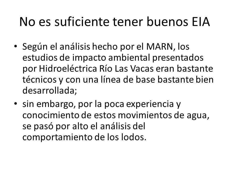 No es suficiente tener buenos EIA Según el análisis hecho por el MARN, los estudios de impacto ambiental presentados por Hidroeléctrica Río Las Vacas