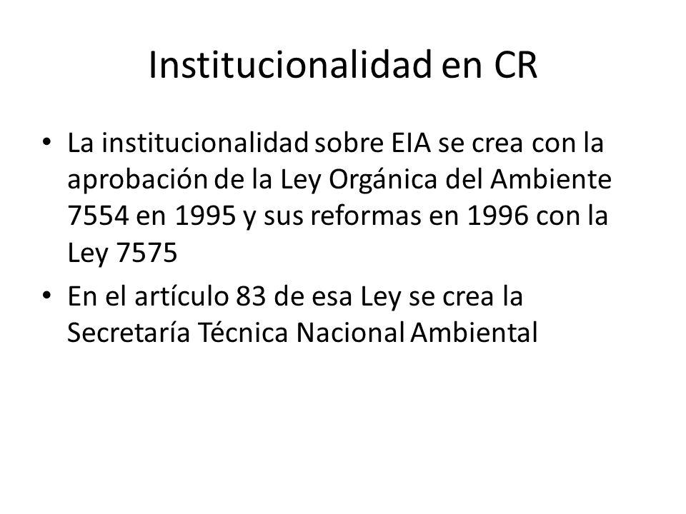 Institucionalidad en CR La institucionalidad sobre EIA se crea con la aprobación de la Ley Orgánica del Ambiente 7554 en 1995 y sus reformas en 1996 c