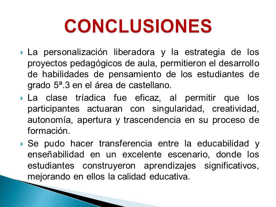 La personalización liberadora y la estrategia de los proyectos pedagógicos de aula, permitieron el desarrollo de habilidades de pensamiento de los est