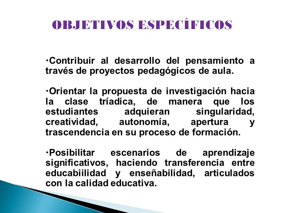 Contribuir al desarrollo del pensamiento a través de proyectos pedagógicos de aula. Orientar la propuesta de investigación hacia la clase tríadica, de