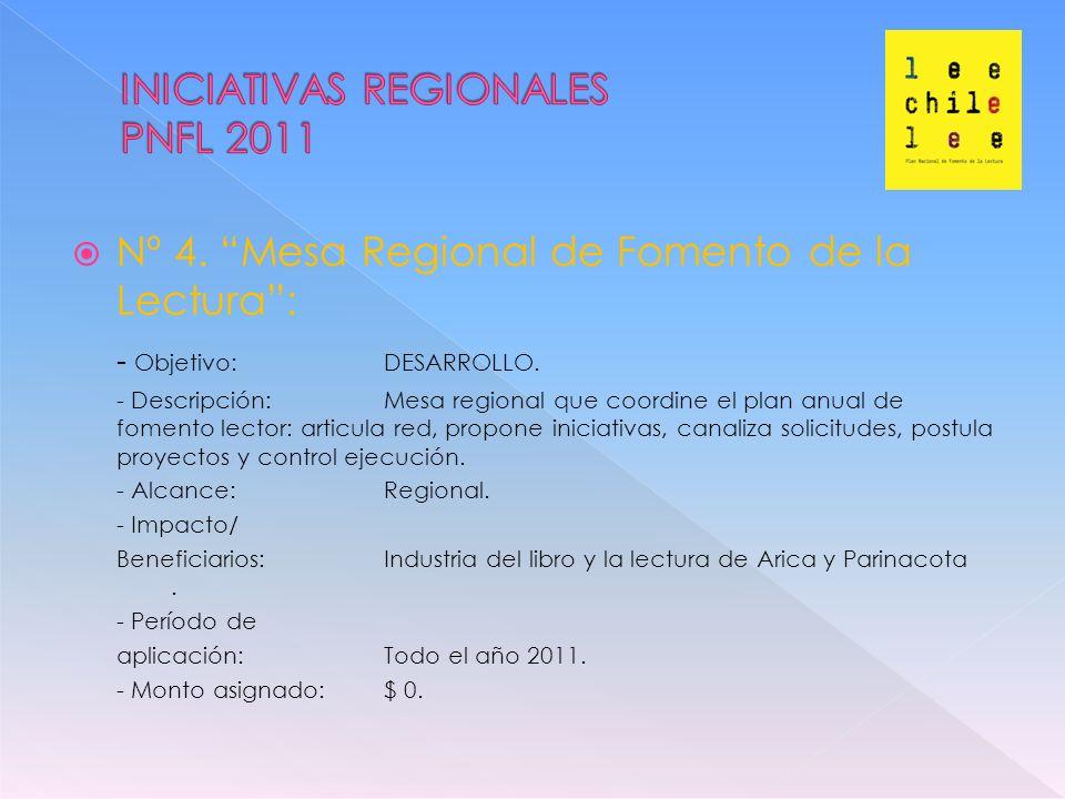 Nº 4. Mesa Regional de Fomento de la Lectura: - Objetivo: DESARROLLO.
