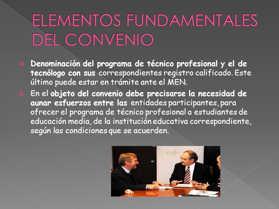 Denominación del programa de técnico profesional y el de tecnólogo con sus correspondientes registro calificado.