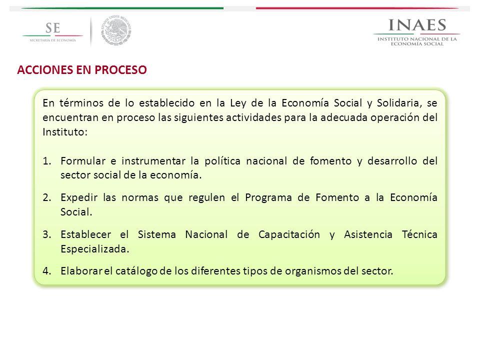 ACCIONES EN PROCESO En términos de lo establecido en la Ley de la Economía Social y Solidaria, se encuentran en proceso las siguientes actividades par