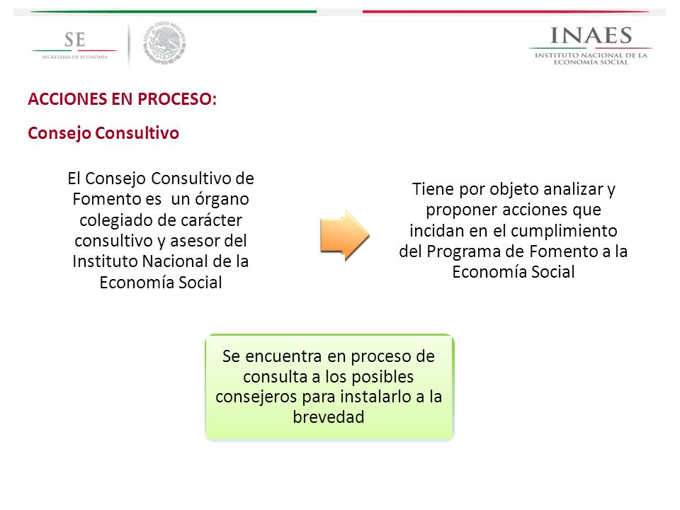 ACCIONES EN PROCESO: Consejo Consultivo El Consejo Consultivo de Fomento es un órgano colegiado de carácter consultivo y asesor del Instituto Nacional