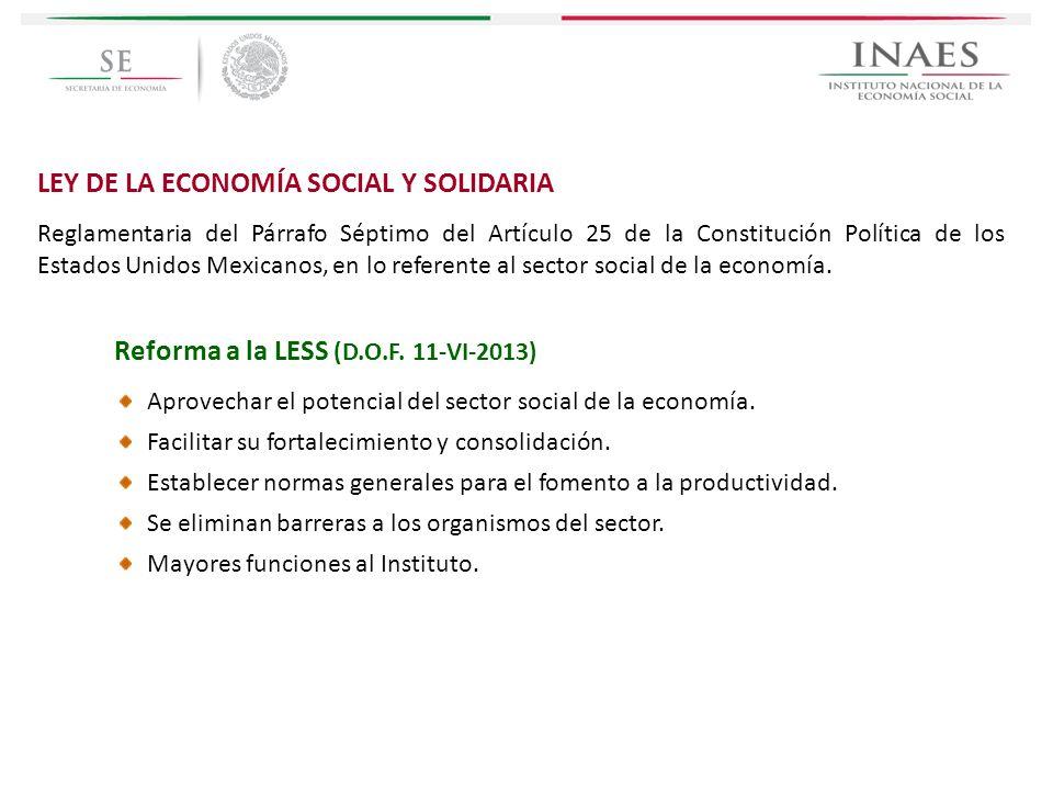 LEY DE LA ECONOMÍA SOCIAL Y SOLIDARIA Reglamentaria del Párrafo Séptimo del Artículo 25 de la Constitución Política de los Estados Unidos Mexicanos, e