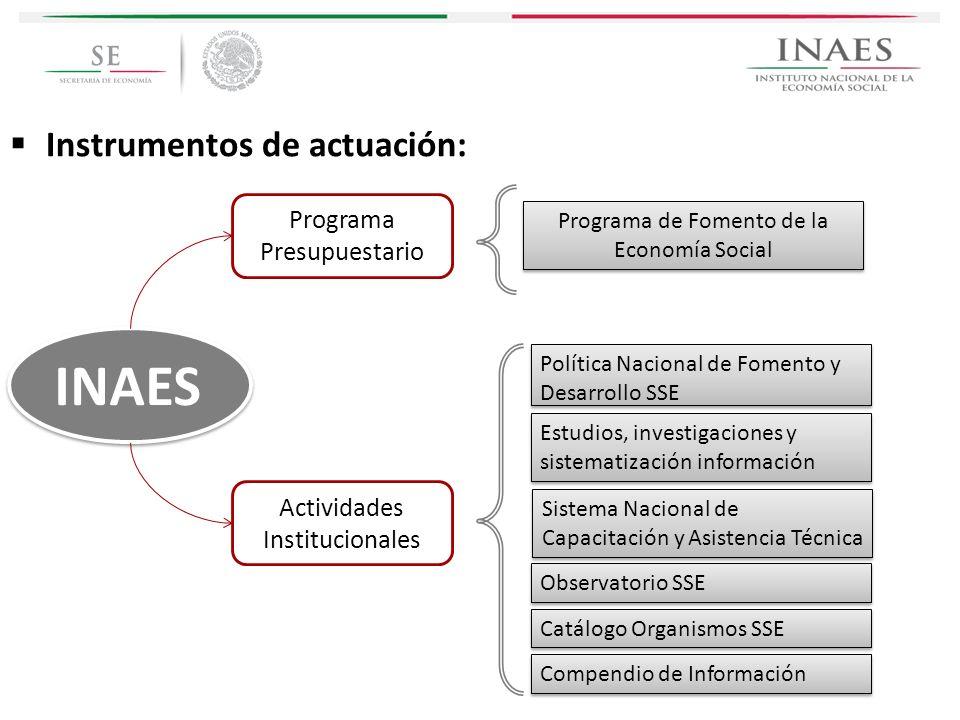 Programa de Fomento de la Economía Social INAES Política Nacional de Fomento y Desarrollo SSE Estudios, investigaciones y sistematización información