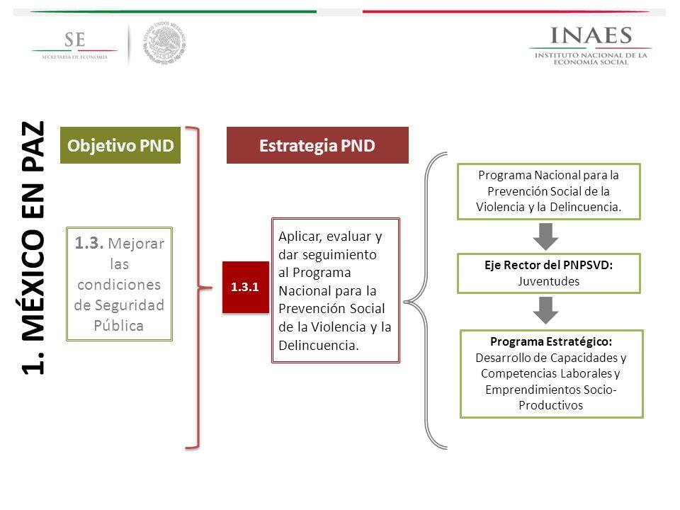 Estrategia PND 1.3. Mejorar las condiciones de Seguridad Pública Aplicar, evaluar y dar seguimiento al Programa Nacional para la Prevención Social de