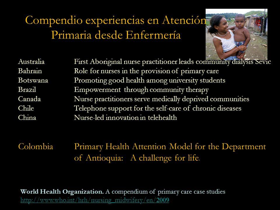 Compendio experiencias en Atención Primaria desde Enfermería Se presentan 38 experiencias de 29 ciudades en 6 regiones del mundo. En el marco de los 6