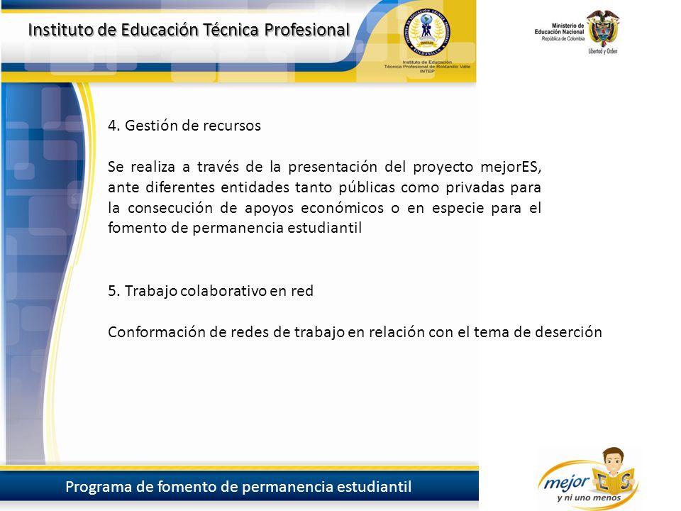 Instituto de Educación Técnica Profesional Programa de fomento de permanencia estudiantil Instituto de Educación Técnica Profesional Programa de fomento de permanencia estudiantil 4.