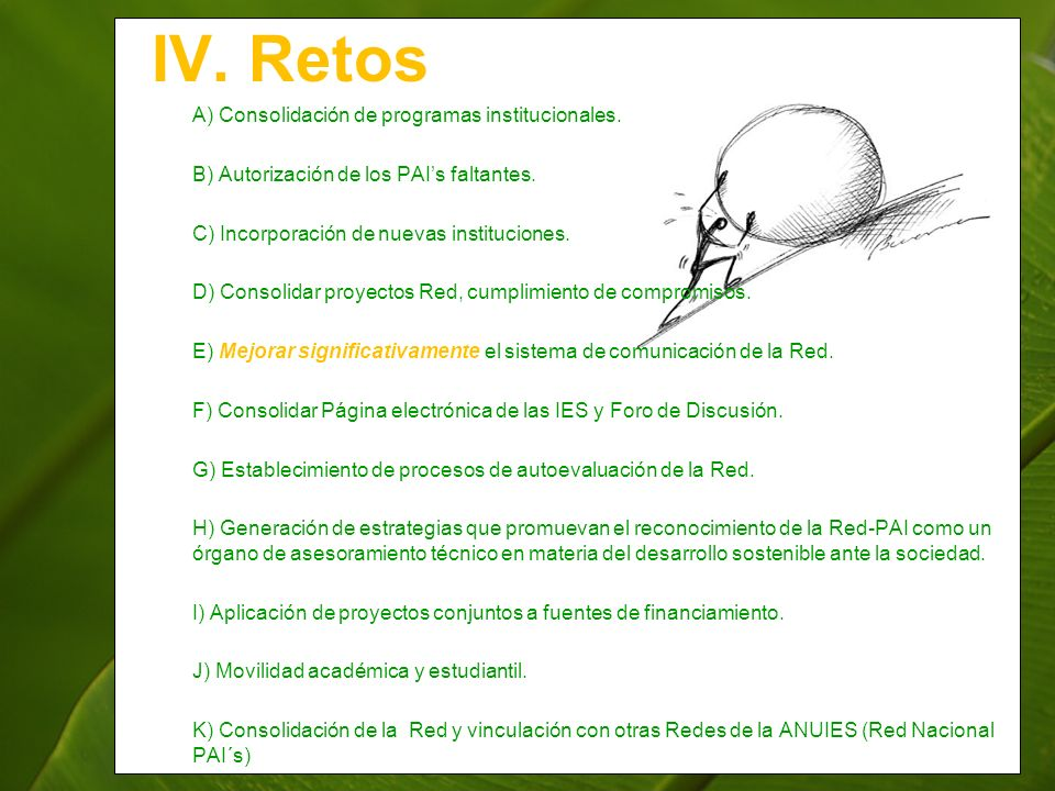 IV. Retos A) Consolidación de programas institucionales. B) Autorización de los PAIs faltantes. C) Incorporación de nuevas instituciones. D) Consolida