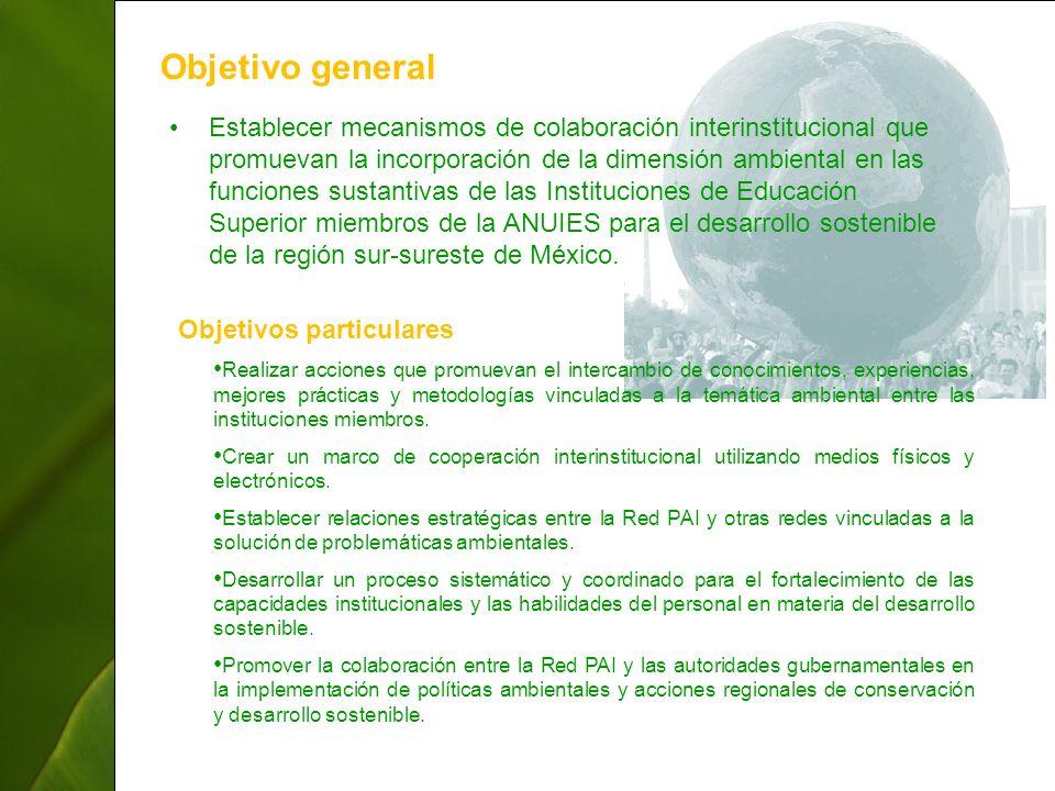 ThepowerpointTemplates.com 4 Objetivo general Establecer mecanismos de colaboración interinstitucional que promuevan la incorporación de la dimensión ambiental en las funciones sustantivas de las Instituciones de Educación Superior miembros de la ANUIES para el desarrollo sostenible de la región sur-sureste de México.