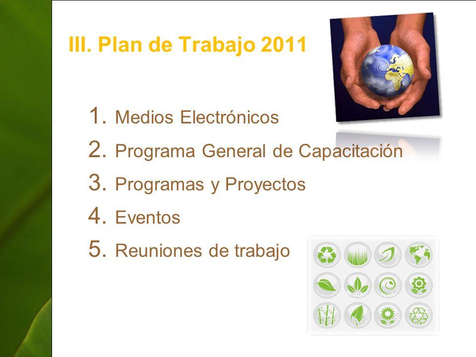 ThepowerpointTemplates.com 7 III. Plan de Trabajo 2011 1. Medios Electrónicos 2. Programa General de Capacitación 3. Programas y Proyectos 4. Eventos