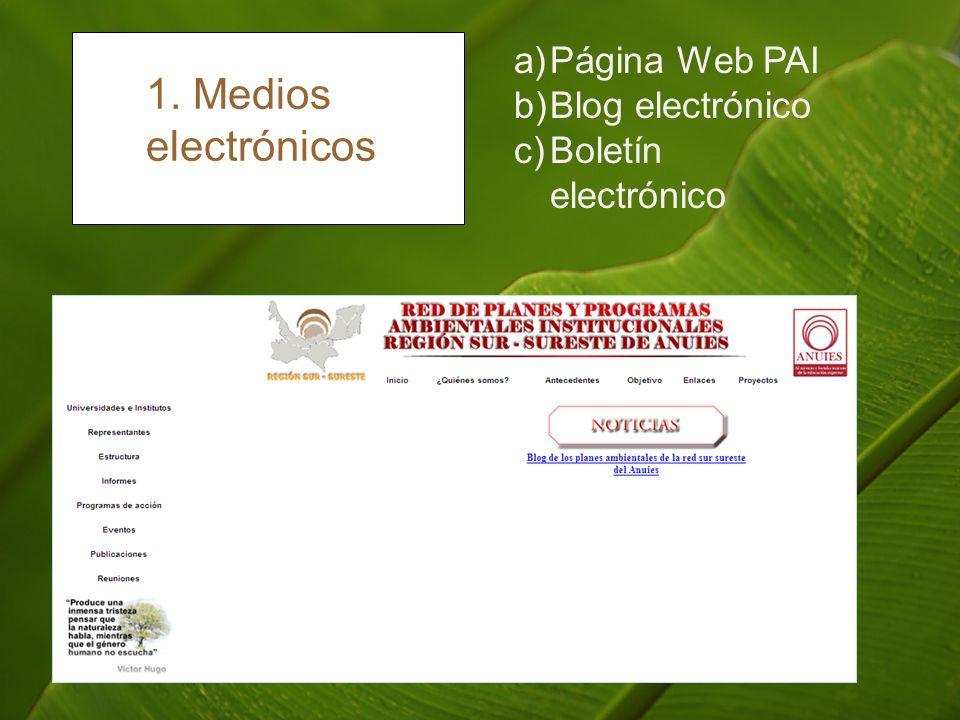 1. Medios electrónicos a)Página Web PAI b)Blog electrónico c)Boletín electrónico