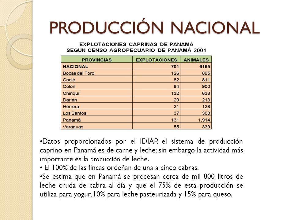 PRODUCCIÓN NACIONAL Datos proporcionados por el IDIAP, el sistema de producción caprino en Panamá es de carne y leche; sin embargo la actividad más im