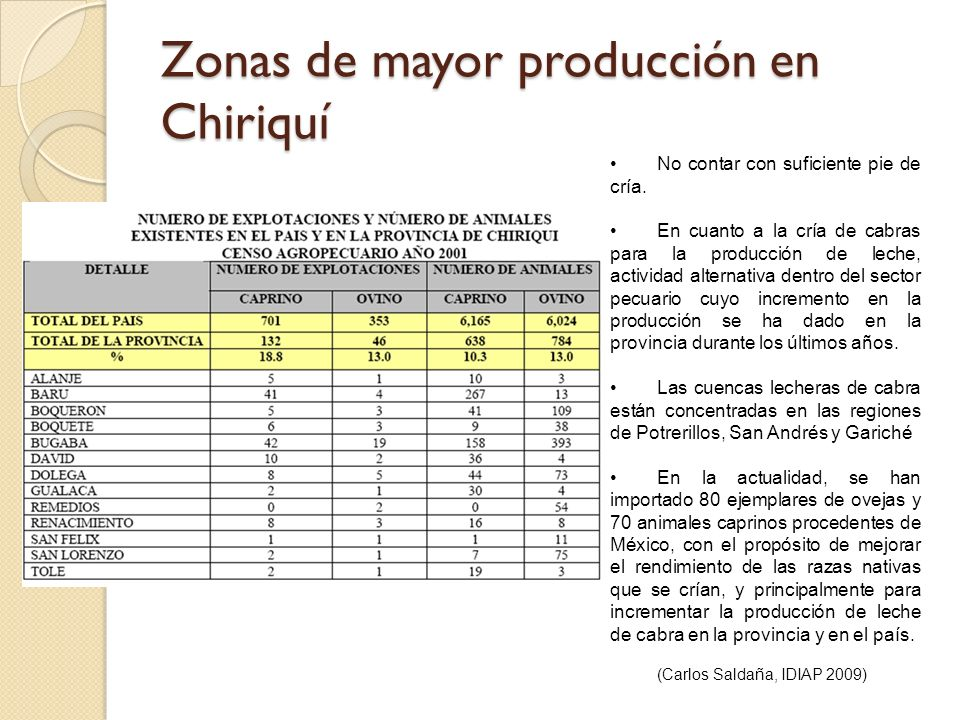 Zonas de mayor producción en Chiriquí No contar con suficiente pie de cría. En cuanto a la cría de cabras para la producción de leche, actividad alter