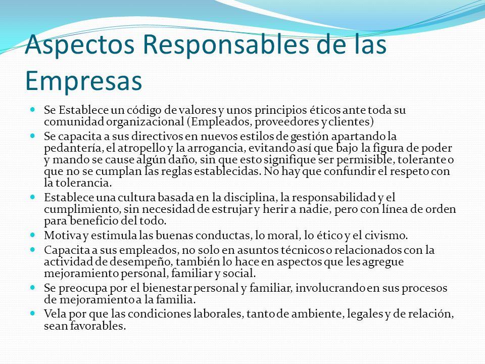 Aspectos Responsables de las Empresas Se Establece un código de valores y unos principios éticos ante toda su comunidad organizacional (Empleados, pro