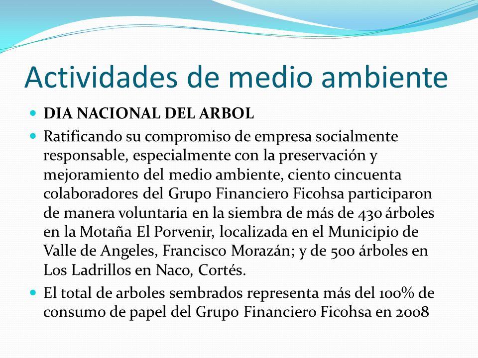 Actividades de medio ambiente DIA NACIONAL DEL ARBOL Ratificando su compromiso de empresa socialmente responsable, especialmente con la preservación y