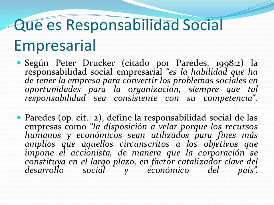 Que es Responsabilidad Social Empresarial Según Peter Drucker (citado por Paredes, 1998:2) la responsabilidad social empresarial es la habilidad que h