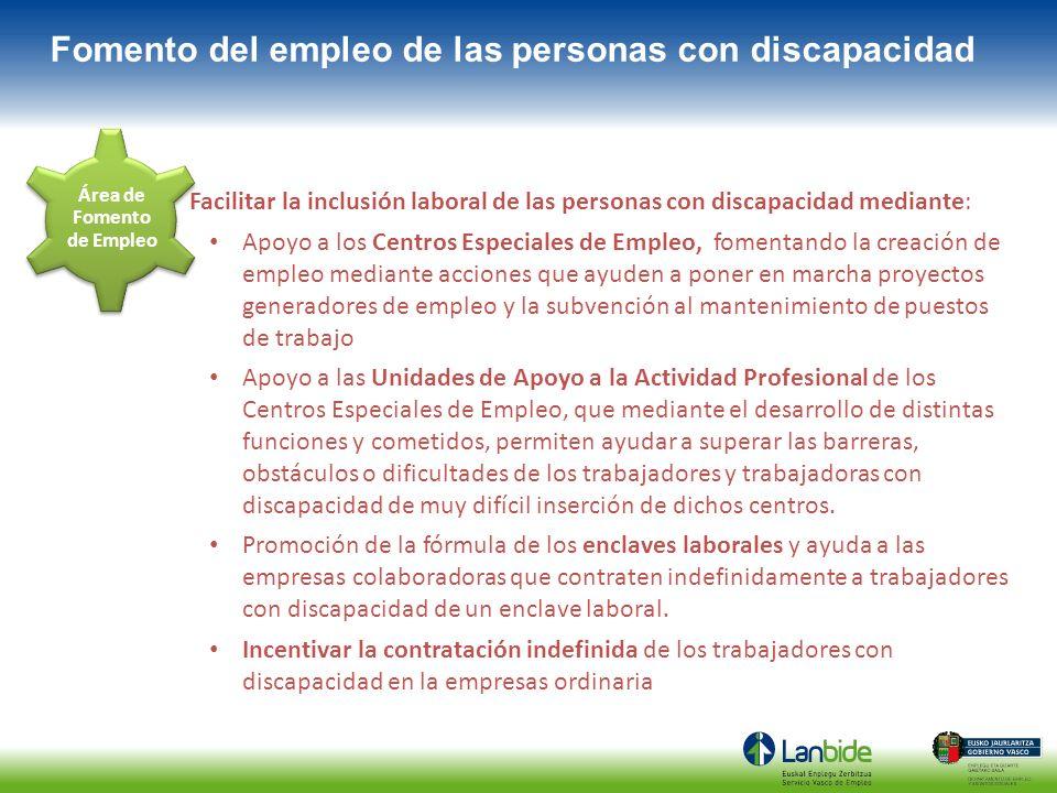 Facilitar la inclusión laboral de las personas con discapacidad mediante: Apoyo a los Centros Especiales de Empleo, fomentando la creación de empleo m