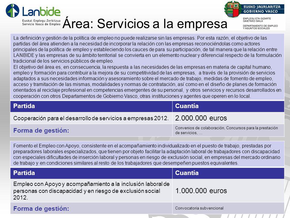 Área: Servicios a la empresa La definición y gestión de la política de empleo no puede realizarse sin las empresas. Por esta razón, el objetivo de las